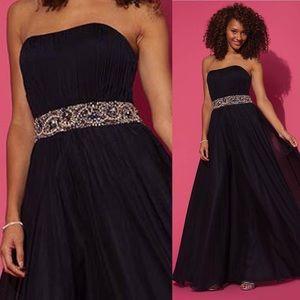 JOVANI strapless navy chiffon dress size 12 NWT